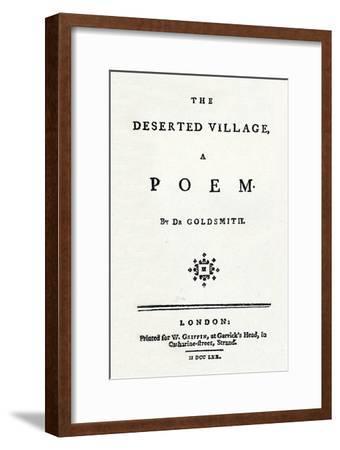 'The Deserted Village, A Poem', c1770-Unknown-Framed Giclee Print