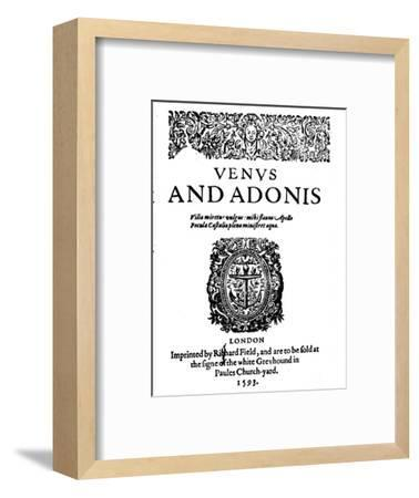 'Shakespeare's First Published Work - 1st Edition of Venus and Adonis', 1593-Unknown-Framed Giclee Print