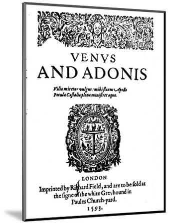'Shakespeare's First Published Work - 1st Edition of Venus and Adonis', 1593-Unknown-Mounted Giclee Print