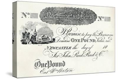 'One Pound Note Executed for the Northumberland Bank', c1820-Unknown-Stretched Canvas Print