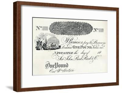 'One Pound Note Executed for the Northumberland Bank', c1820-Unknown-Framed Giclee Print