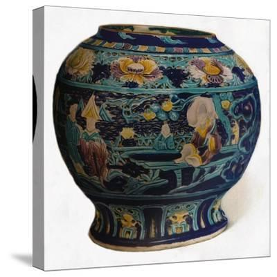 'Fahua jar with openwork design showing the Eight Daoist Immortals', c1550-Unknown-Stretched Canvas Print