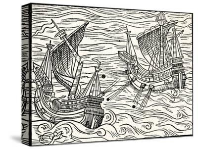 'Engagement Between Two Merchant Ships Off The Coast of Iceland', 1555-Unknown-Stretched Canvas Print