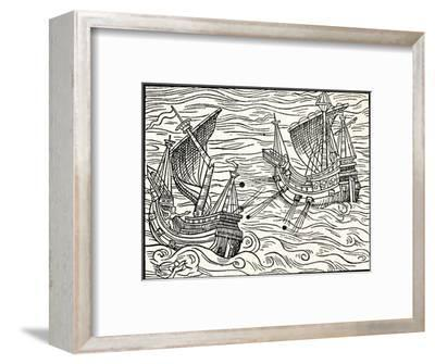 'Engagement Between Two Merchant Ships Off The Coast of Iceland', 1555-Unknown-Framed Giclee Print
