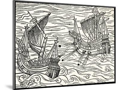 'Engagement Between Two Merchant Ships Off The Coast of Iceland', 1555-Unknown-Mounted Giclee Print