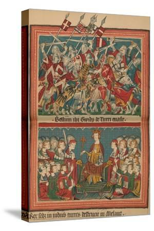 Battle and Court of Justice During Henry VII's March Upon Rome: A Page from the Codex Balduineus-Unknown-Stretched Canvas Print