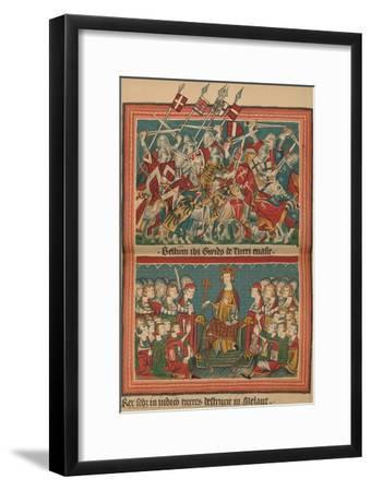 Battle and Court of Justice During Henry VII's March Upon Rome: A Page from the Codex Balduineus-Unknown-Framed Giclee Print