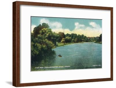 'Hyde Park from Serpentine Bridge, London', c1910-Unknown-Framed Giclee Print