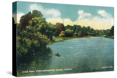 'Hyde Park from Serpentine Bridge, London', c1910-Unknown-Stretched Canvas Print