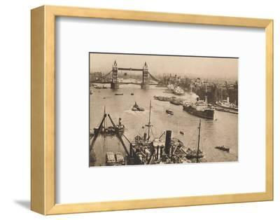 'London - Tower Bridge and the Pool', c1910-Unknown-Framed Photographic Print