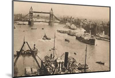 'London - Tower Bridge and the Pool', c1910-Unknown-Mounted Photographic Print