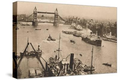 'London - Tower Bridge and the Pool', c1910-Unknown-Stretched Canvas Print