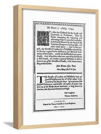 A facsimile of the order for the burning of the Book of Sports, 1643 (1903)-Unknown-Framed Giclee Print