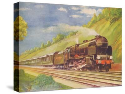 'The Ace Atlantic Coast Express, S.R., in Weybridge Cutting', 1940-Unknown-Stretched Canvas Print