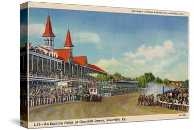 'An Exciting Finish at Churchill Downs, Louisville, Ky', c1940-Unknown-Stretched Canvas Print