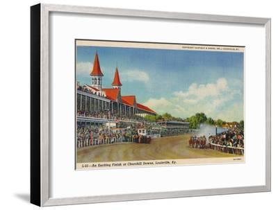 'An Exciting Finish at Churchill Downs, Louisville, Ky', c1940-Unknown-Framed Giclee Print