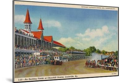 'An Exciting Finish at Churchill Downs, Louisville, Ky', c1940-Unknown-Mounted Giclee Print