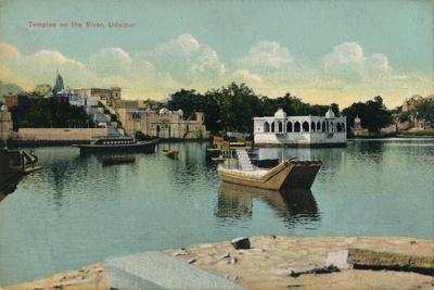 'Temples on the River, Udaipur', c1900-Unknown-Framed Giclee Print