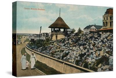 'Ocean Beach, Durban', c1914-Unknown-Stretched Canvas Print
