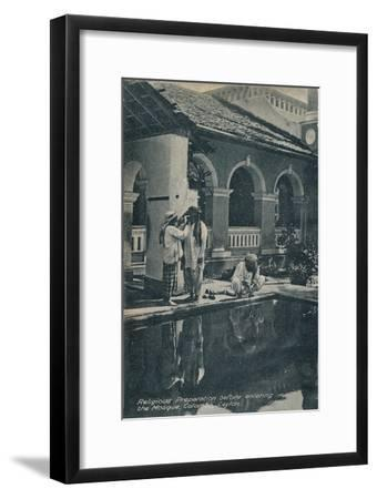 'Religious Preparation before entering the Mosque, Colombo, Ceylon', c1910-Unknown-Framed Giclee Print