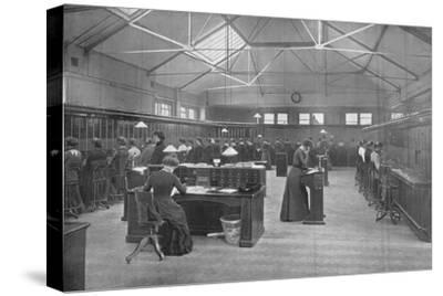 In the Post Office Central Telephone Exchange, City of London, c1903 (1903)-Unknown-Stretched Canvas Print