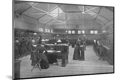 In the Post Office Central Telephone Exchange, City of London, c1903 (1903)-Unknown-Mounted Photographic Print