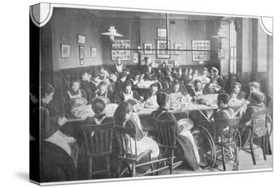 Girls at needlework, Halliwick School For Girls, Marylebone Road, London, c1903-Unknown-Stretched Canvas Print