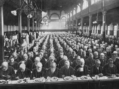 At dinner, St Marylebone Workhouse, London, c1901 (1903)-Unknown-Framed Photographic Print