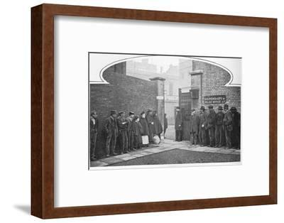 Waiting for admission to St Marylebone Workhouse, Luxborough Street, London, c1901-Unknown-Framed Photographic Print