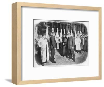 Inspecting meat at Smithfield Market, City of London, c1903 (1903)-Unknown-Framed Photographic Print