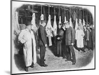 Inspecting meat at Smithfield Market, City of London, c1903 (1903)-Unknown-Mounted Photographic Print