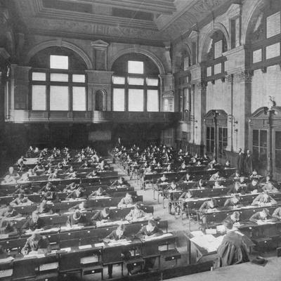 Pupils sitting an examination at the City of London School, c1903 (1903)-Unknown-Framed Photographic Print