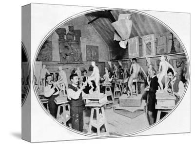 Art students in a sculpture modelling class, London, c1900 (1901)-Unknown-Stretched Canvas Print