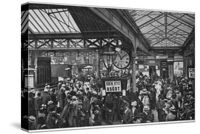 Crowds in Waterloo Station heading off to Ascot races, London, c1900 (1901)-Unknown-Stretched Canvas Print