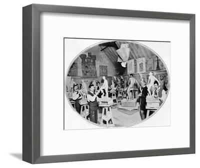 Art students in a sculpture modelling class, London, c1900 (1901)-Unknown-Framed Photographic Print