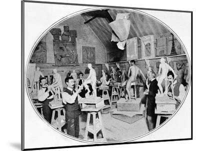Art students in a sculpture modelling class, London, c1900 (1901)-Unknown-Mounted Photographic Print