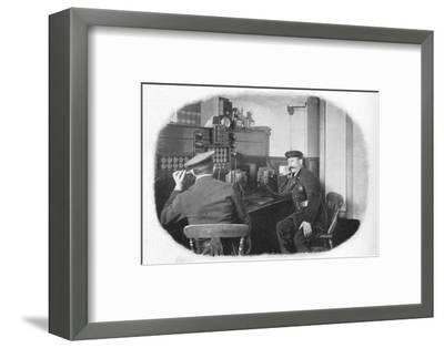 At the telephone, London Fire Brigade, c1900 (1901)-Unknown-Framed Photographic Print