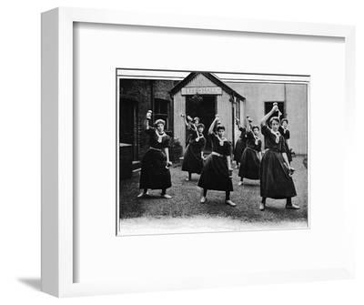 Physical drill at Canning Town Women's Settlement, London, c1901 (1901)-Unknown-Framed Photographic Print
