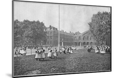 In the Foundling Hospital grounds, London, c1901 (1901)-Unknown-Mounted Photographic Print