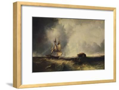 'A ship, and men in a rowing boat off Calais', c1830, (1938)-Unknown-Framed Giclee Print