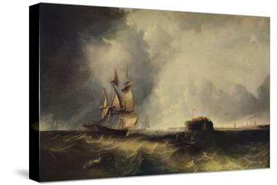 'A ship, and men in a rowing boat off Calais', c1830, (1938)-Unknown-Stretched Canvas Print