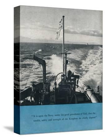 View from the stern of a British warship, c1940 (1943)-Unknown-Stretched Canvas Print
