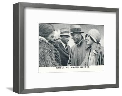 'Greeting Maori Guides', 1927 (1937)-Unknown-Framed Photographic Print