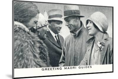 'Greeting Maori Guides', 1927 (1937)-Unknown-Mounted Photographic Print