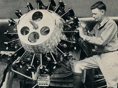 Charles Lindbergh checking the engine of his aircraft before his transatlantic flight, 1927-Unknown-Framed Photographic Print