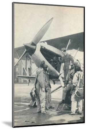 An instructor explaining engine details to a pupils at Sealand Aerodrome, Flintshire, c1936-Unknown-Mounted Photographic Print