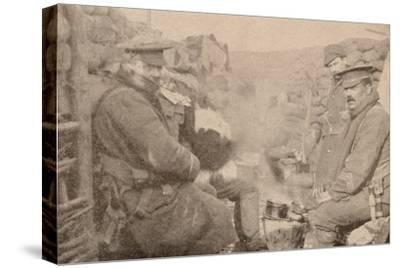 Dinner in the trenches, c1915 (1928)-Unknown-Stretched Canvas Print