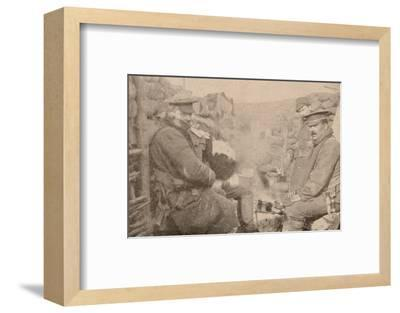 Dinner in the trenches, c1915 (1928)-Unknown-Framed Photographic Print
