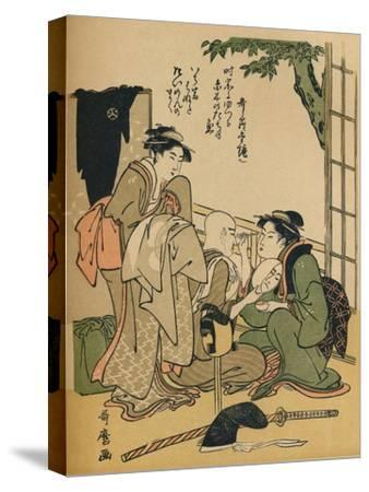 'Making Up For The Stage', c1780-Kitagawa Utamaro-Stretched Canvas Print