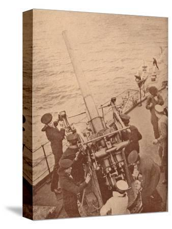 An anti-aircraft gun in action on a British battleship, c1917 (1919)-Unknown-Stretched Canvas Print
